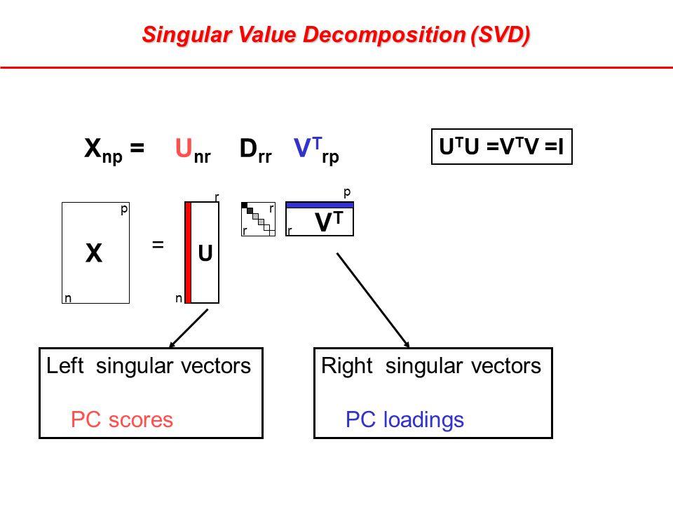 Singular Value Decomposition (SVD) X np = U nr D rr V T rp Left singular vectors PC scores Right singular vectors PC loadings p n r r r n p r X U VTVT = U T U =V T V =I