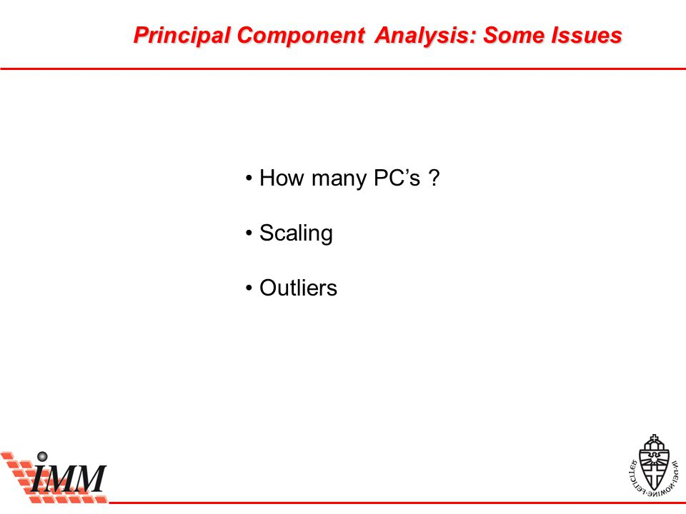 Principal Component Analysis: Some Issues How many PC's Scaling Outliers