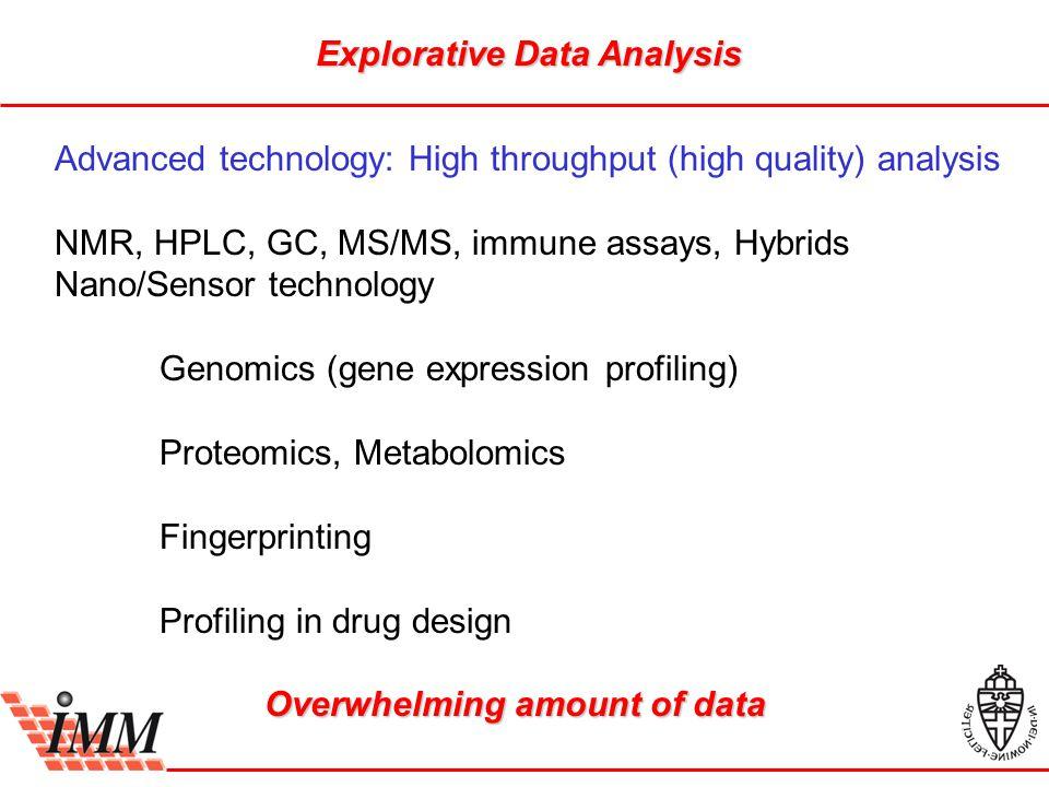 Explorative Data Analysis Advanced technology: High throughput (high quality) analysis NMR, HPLC, GC, MS/MS, immune assays, Hybrids Nano/Sensor technology Genomics (gene expression profiling) Proteomics, Metabolomics Fingerprinting Profiling in drug design Overwhelming amount of data