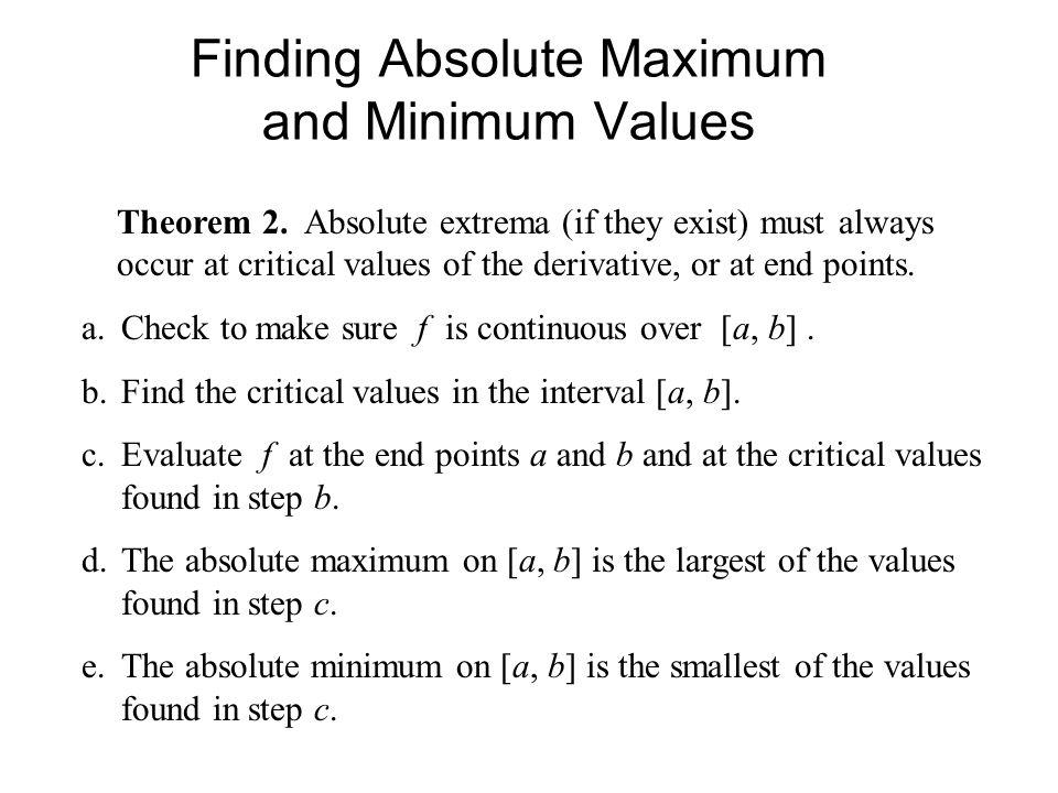 Finding Absolute Maximum and Minimum Values Theorem 2.