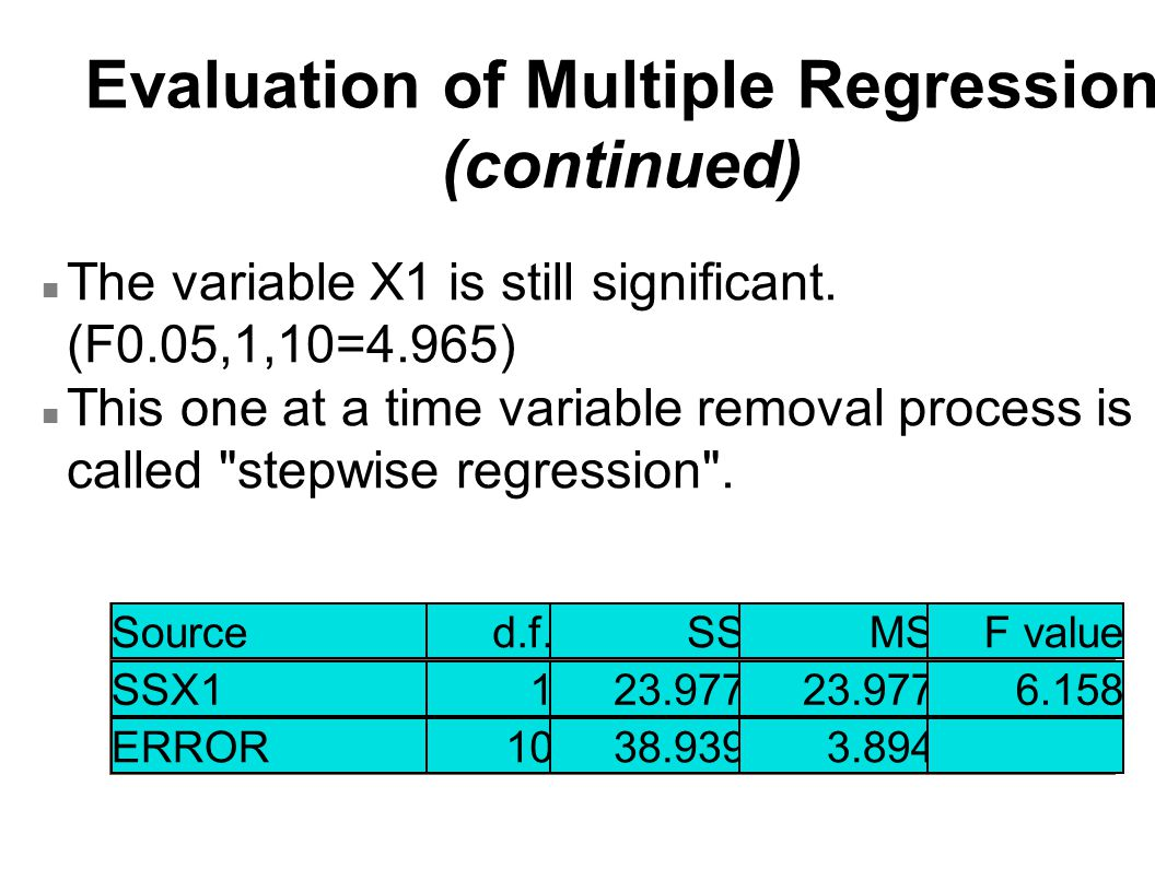 Evaluation of Multiple Regression (continued) n The variable X1 is still significant.