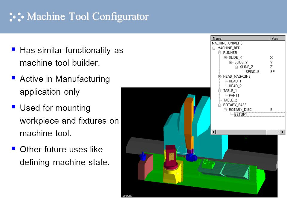 Machine Tool Configurator  Has similar functionality as machine tool builder.  Active in Manufacturing application only  Used for mounting workpiec