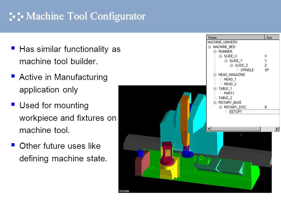 Machine Tool Configurator  Has similar functionality as machine tool builder.