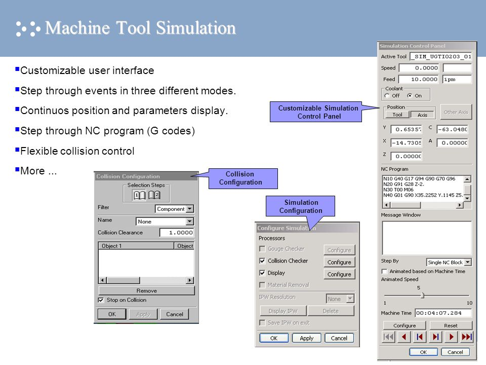 Machine Tool Simulation  Customizable user interface  Step through events in three different modes.