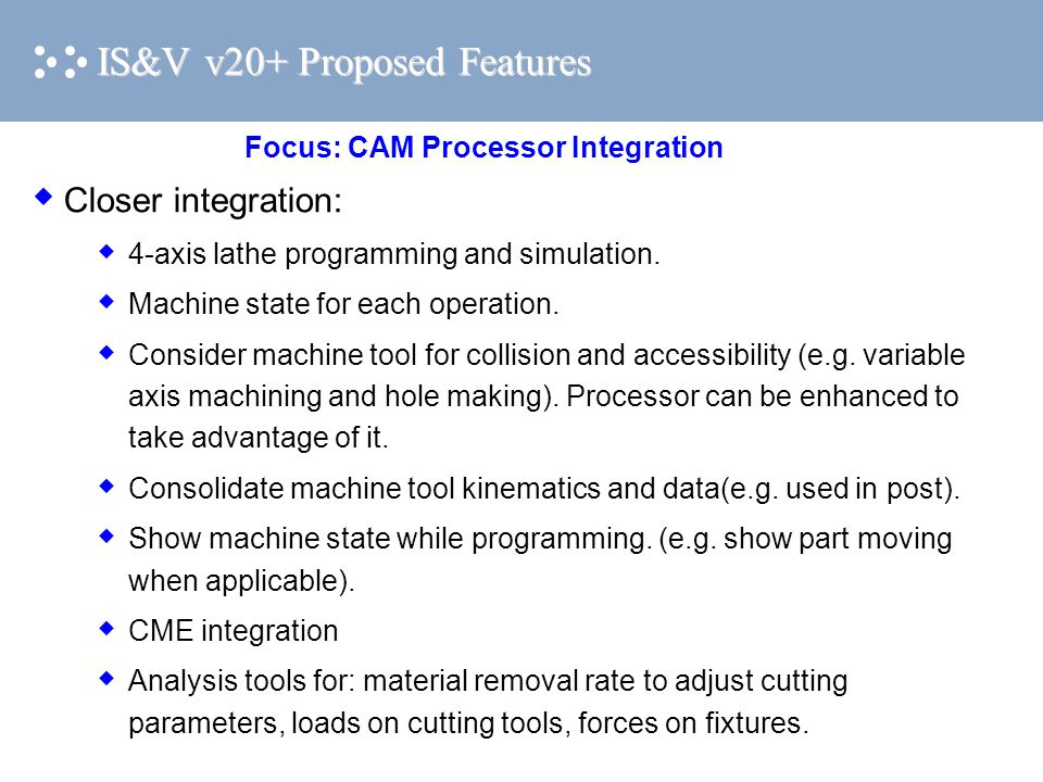 IS&V v20+ Proposed Features  Closer integration:  4-axis lathe programming and simulation.
