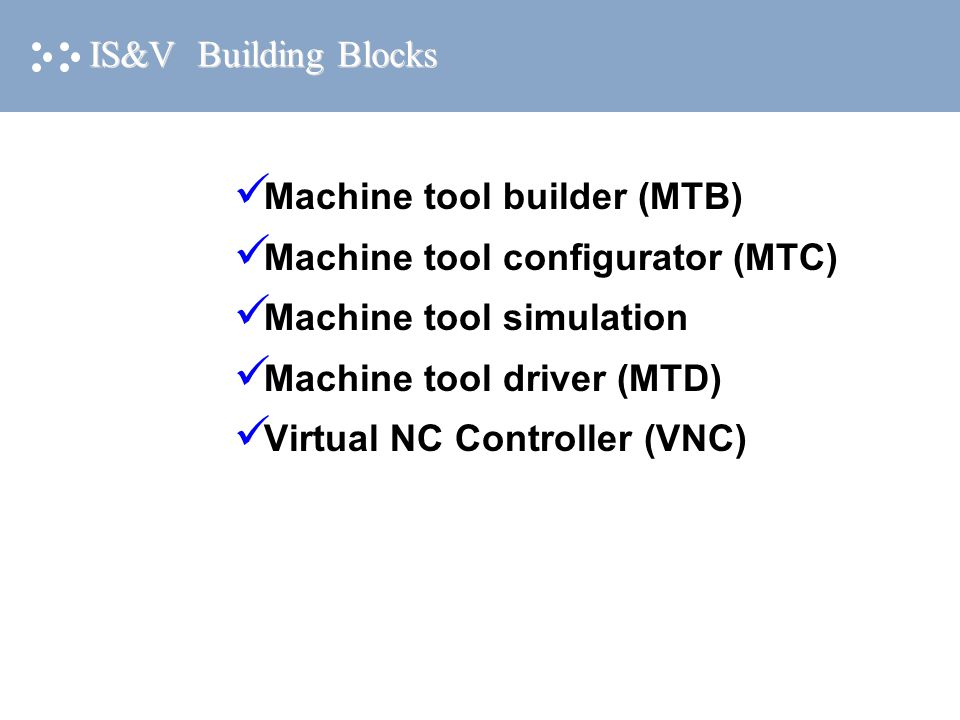 IS&V Building Blocks Machine tool builder (MTB) Machine tool configurator (MTC) Machine tool simulation Machine tool driver (MTD) Virtual NC Controlle