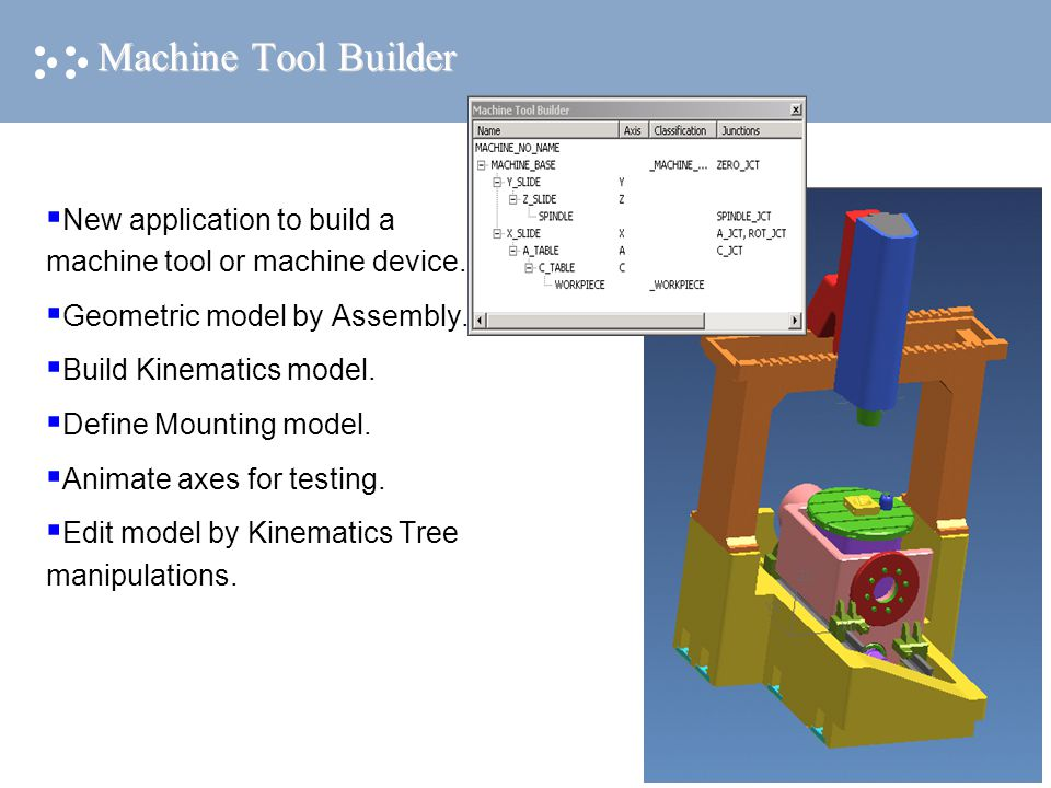 Machine Tool Builder  New application to build a machine tool or machine device.  Geometric model by Assembly.  Build Kinematics model.  Define Mo
