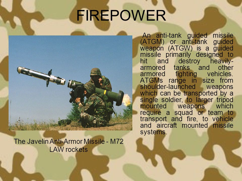 FIREPOWER An anti-tank guided missile (ATGM) or anti-tank guided weapon (ATGW) is a guided missile primarily designed to hit and destroy heavily- armo