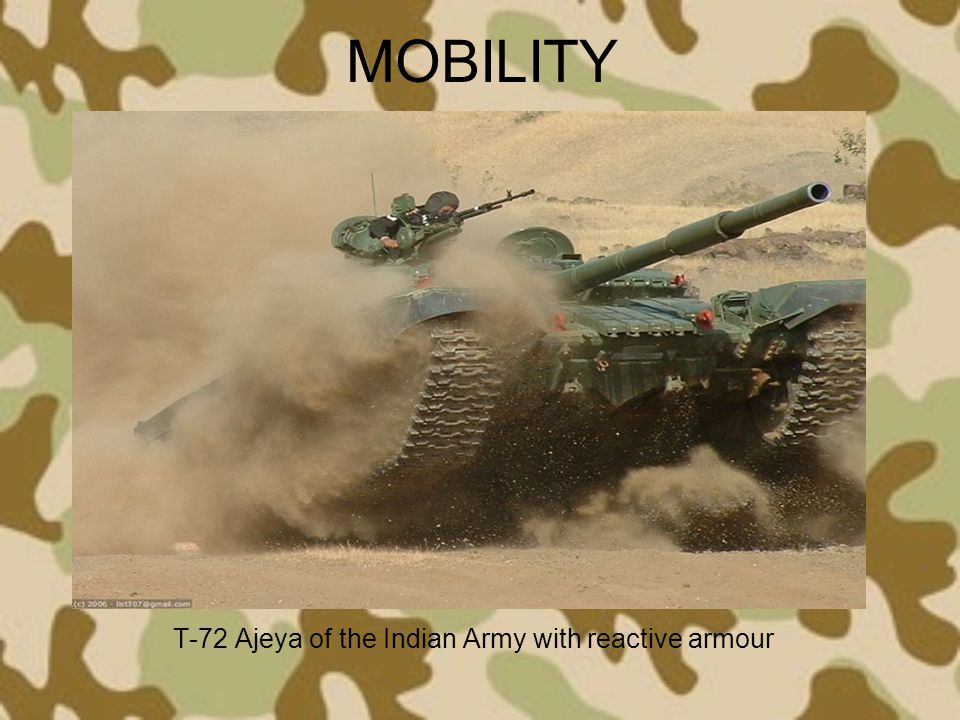 MOBILITY T-72 Ajeya of the Indian Army with reactive armour
