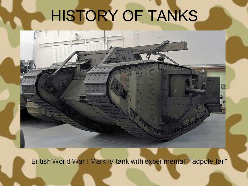 HISTORY OF TANKS British World War I Mark IV tank with experimental
