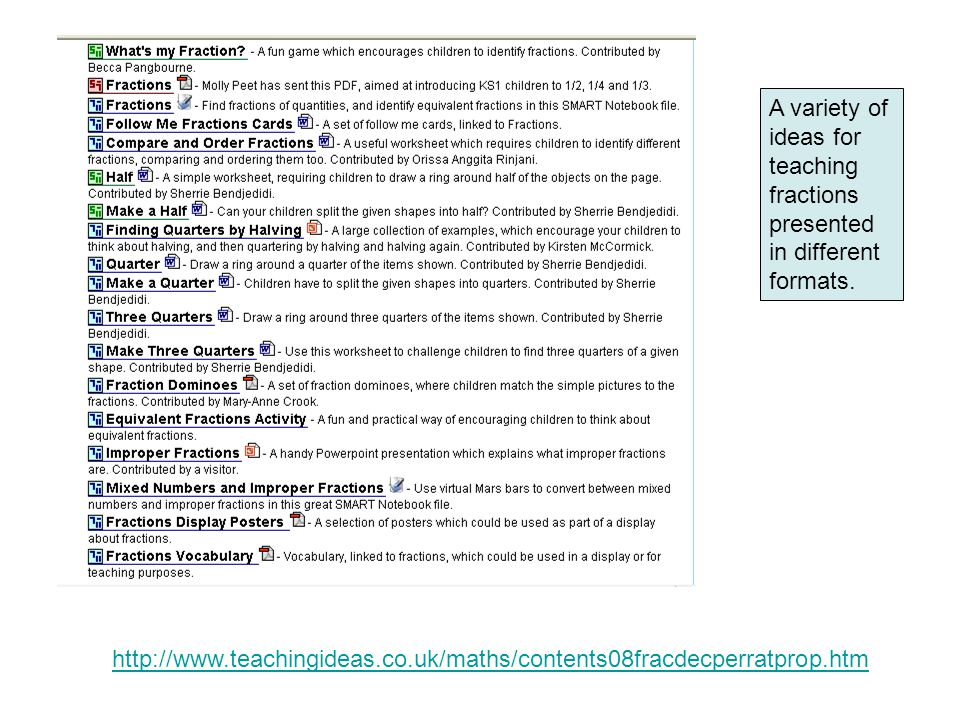 http://www.teachingideas.co.uk/maths/contents08fracdecperratprop.htm A variety of ideas for teaching fractions presented in different formats.