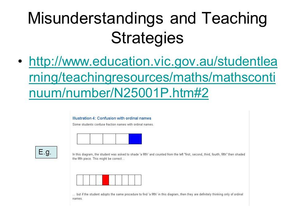 Misunderstandings and Teaching Strategies http://www.education.vic.gov.au/studentlea rning/teachingresources/maths/mathsconti nuum/number/N25001P.htm#