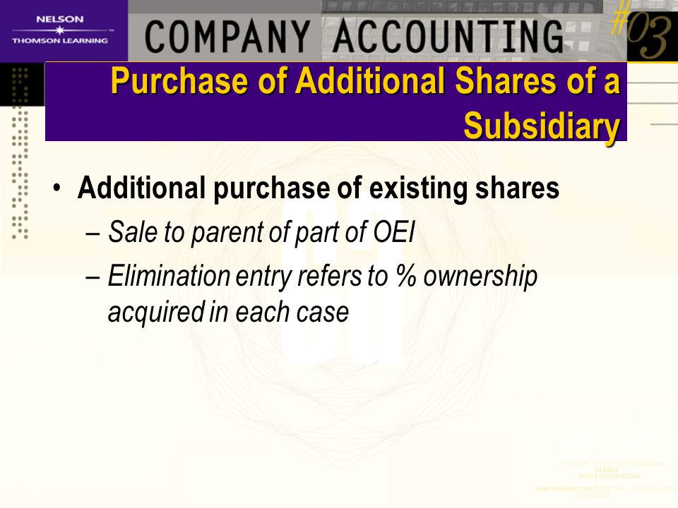 Purchase of Additional Shares of a Subsidiary Additional purchase of existing shares – Sale to parent of part of OEI – Elimination entry refers to % ownership acquired in each case