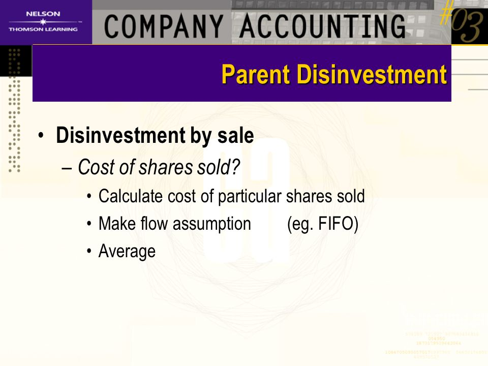 Parent Disinvestment Disinvestment by sale – Cost of shares sold.