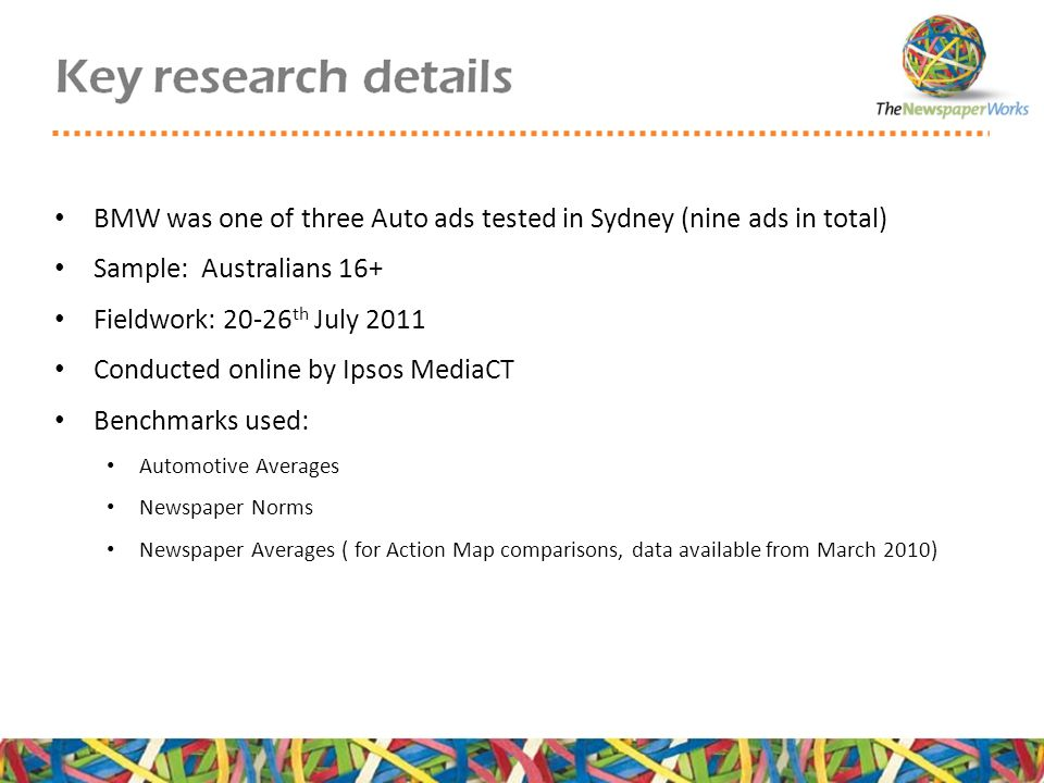 BMW was one of three Auto ads tested in Sydney (nine ads in total) Sample: Australians 16+ Fieldwork: 20-26 th July 2011 Conducted online by Ipsos MediaCT Benchmarks used: Automotive Averages Newspaper Norms Newspaper Averages ( for Action Map comparisons, data available from March 2010)