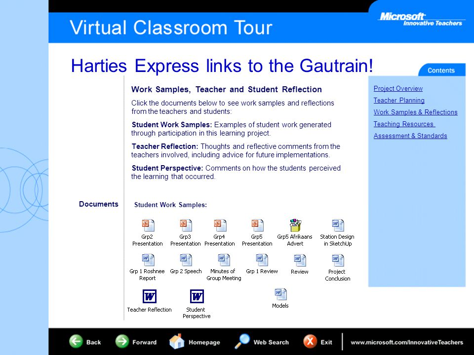 Harties Express links to the Gautrain! Project Overview Teacher Planning Work Samples & Reflections Teaching Resources Assessment & Standards Work Sam