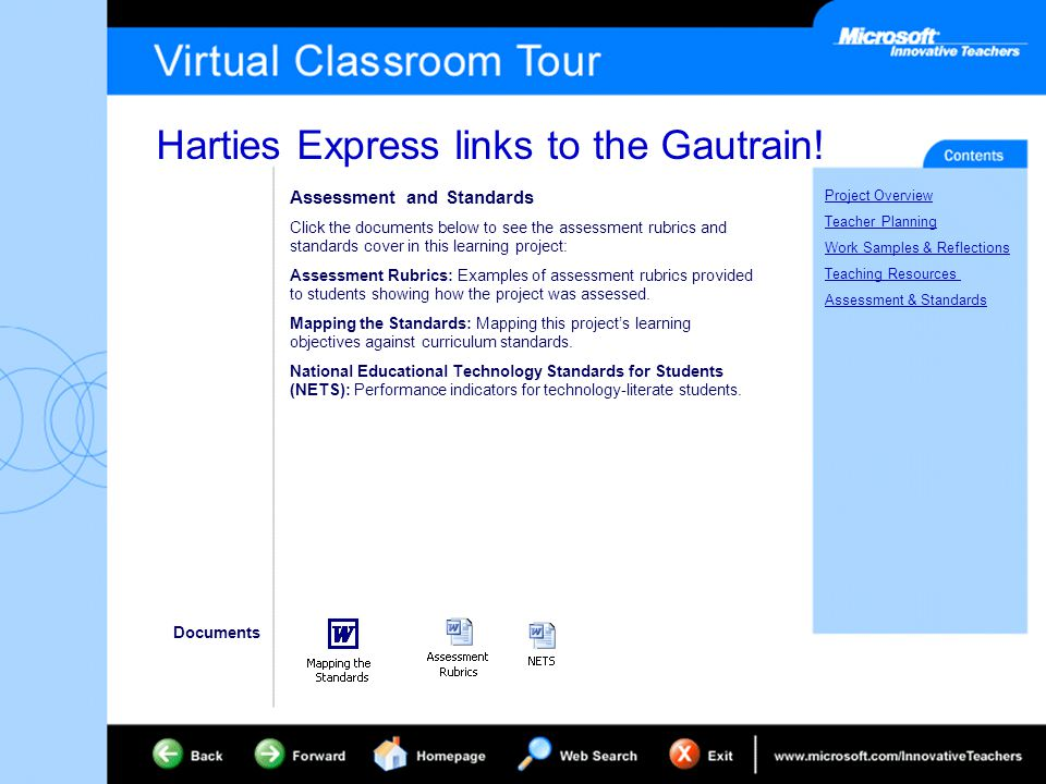 Harties Express links to the Gautrain! Project Overview Teacher Planning Work Samples & Reflections Teaching Resources Assessment & Standards Assessme