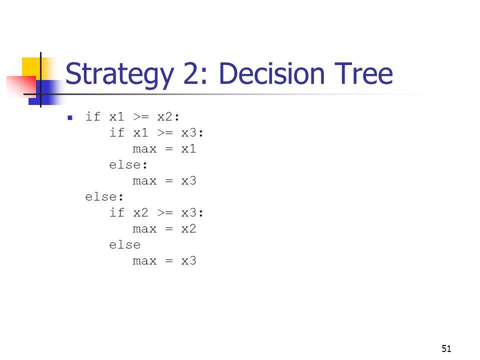 51 Strategy 2: Decision Tree if x1 >= x2: if x1 >= x3: max = x1 else: max = x3 else: if x2 >= x3: max = x2 else max = x3