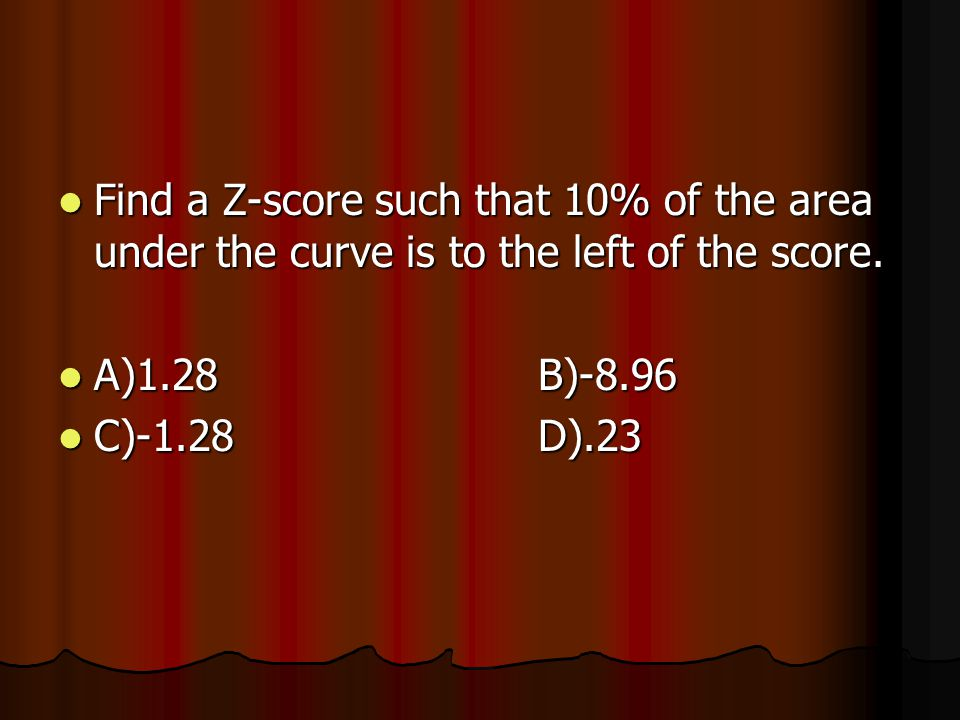 Find a Z-score such that 10% of the area under the curve is to the left of the score.