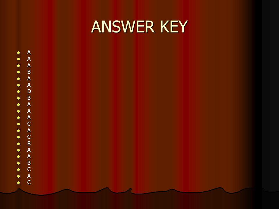 ANSWER KEY A A A B A A D B A A A C A C B A A B C A C