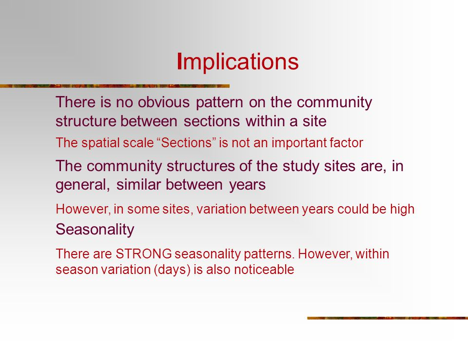 There is no obvious pattern on the community structure between sections within a site The community structures of the study sites are, in general, sim