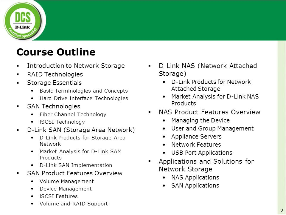 Storage Area Network (SAN) Overview  Storage Solutions Introduction to Network Storage  A high performance storage network that transfers block-level data between servers and storage devices, separate from the local area network (LAN) traffic.