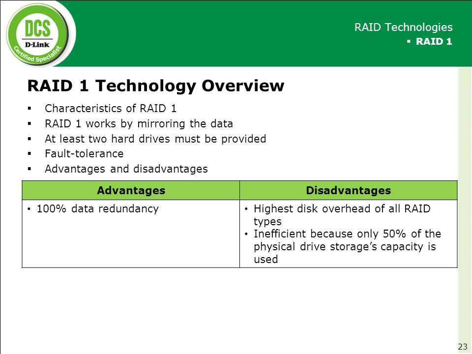 RAID 1 Technology Overview  Characteristics of RAID 1  RAID 1 works by mirroring the data  At least two hard drives must be provided  Fault-tolera