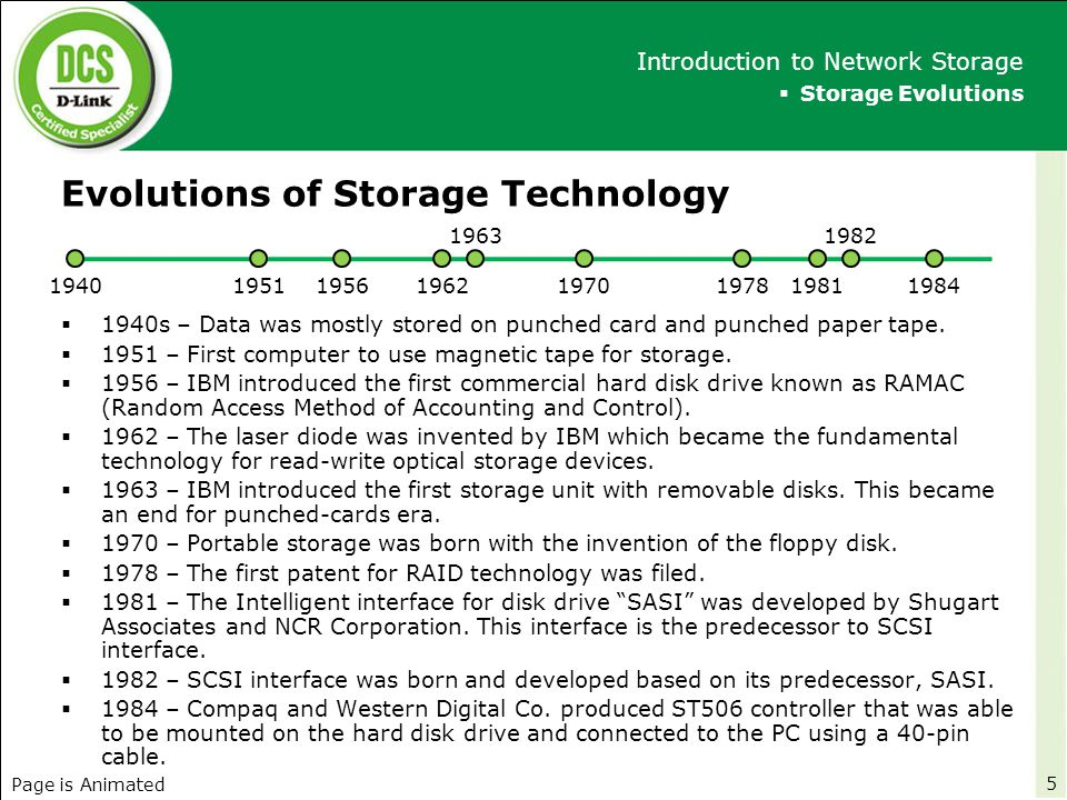 Evolutions of Storage Technology (cont'd)  1985 – First IDE drive was built by integrating ST506 controller in the hard disk drive.
