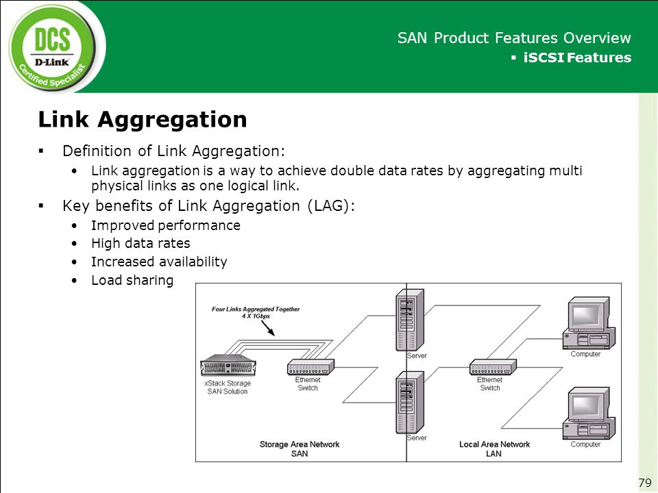 Link Aggregation  iSCSI Features SAN Product Features Overview  Definition of Link Aggregation: Link aggregation is a way to achieve double data rat