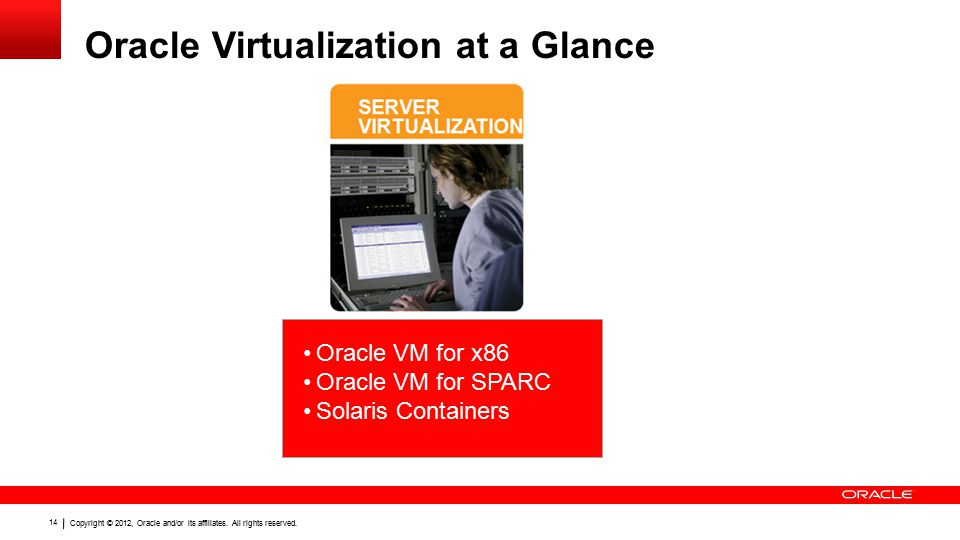 Copyright © 2012, Oracle and/or its affiliates. All rights reserved. 14 Oracle Virtualization at a Glance Oracle VM for x86 Oracle VM for SPARC Solari
