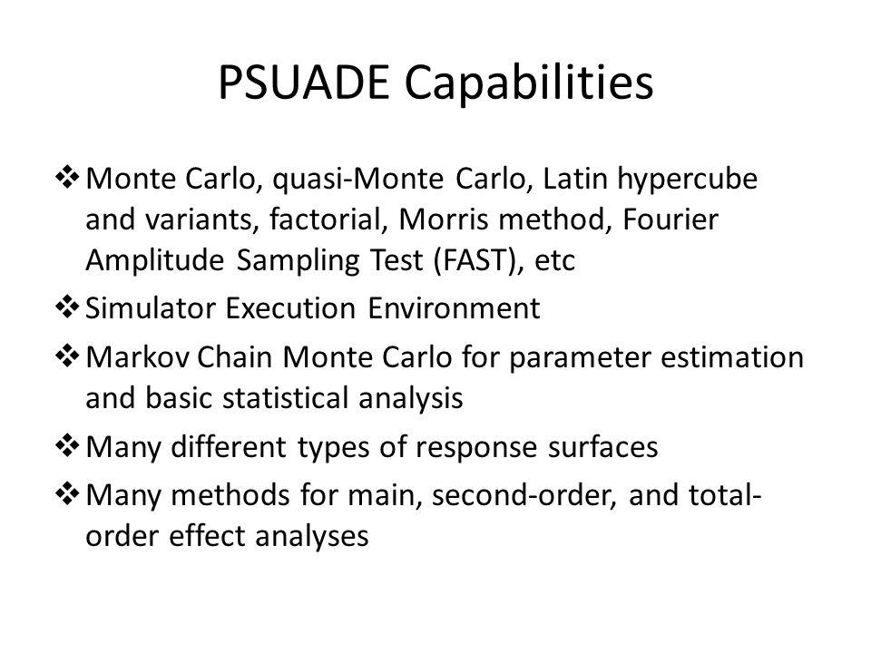 PSUADE Capabilities  Monte Carlo, quasi-Monte Carlo, Latin hypercube and variants, factorial, Morris method, Fourier Amplitude Sampling Test (FAST),