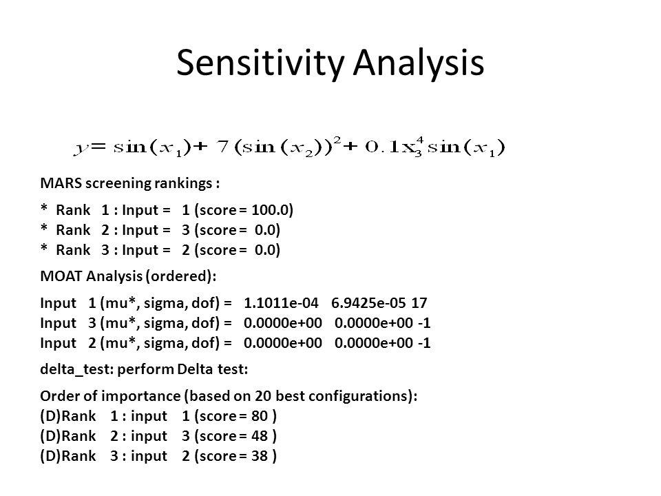 Sensitivity Analysis Gaussian process-based sensitivity analysis: * Rank 1 : Input = 1 (score = 100.0) * Rank 2 : Input = 2 (score = 75.9) * Rank 3 : Input = 3 (score = 5.9) Sum-of-trees-based sensitivity analysis: * SumOfTrees screening rankings (with bootstrapping) * Minimum points per node = 10 * Rank 1 : Input = 1 (score = 100.0) * Rank 2 : Input = 3 (score = 0.9) * Rank 3 : Input = 2 (score = 0.0)