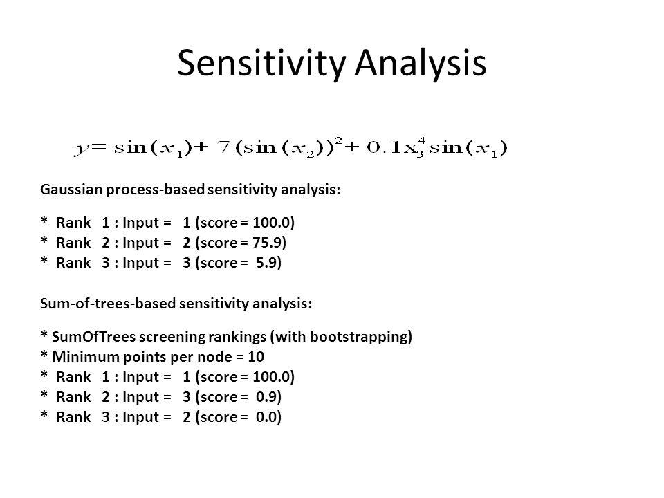 Sensitivity Analysis Gaussian process-based sensitivity analysis: * Rank 1 : Input = 1 (score = 100.0) * Rank 2 : Input = 2 (score = 75.9) * Rank 3 :