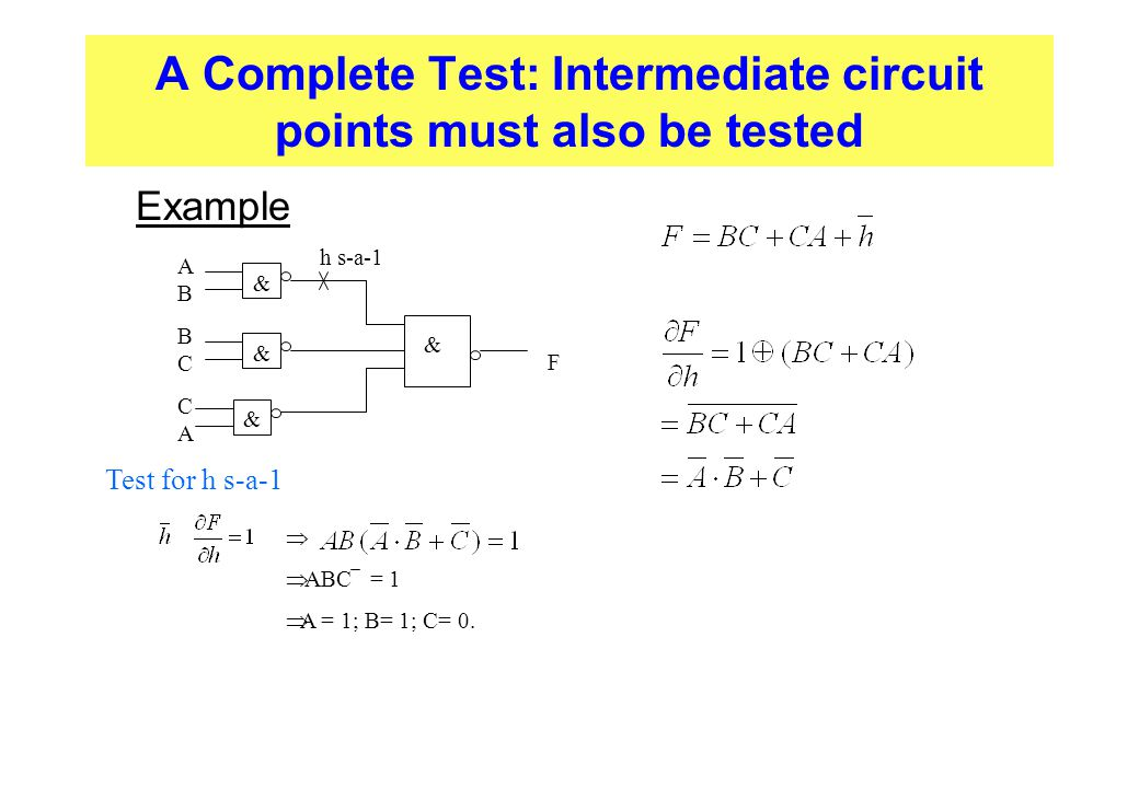 A Complete Test: Intermediate circuit points must also be tested  Example & & & & ABBCCAABBCCA F h s-a-1 Test for h s-a-1   ABC = 1  A = 1; B= 1;
