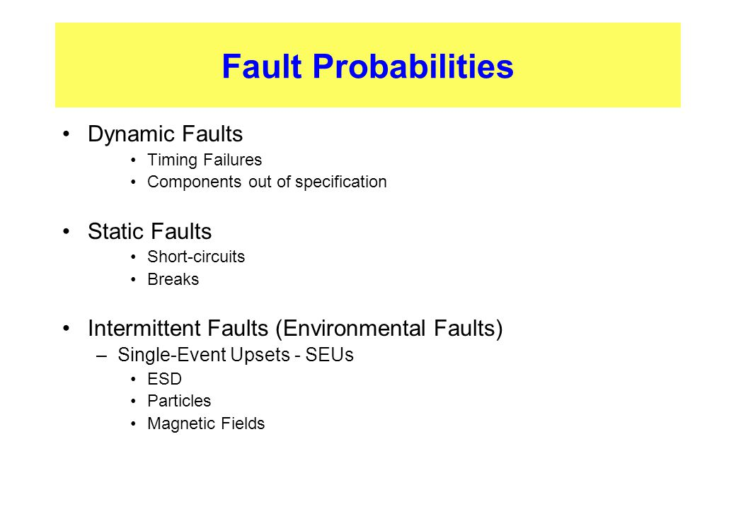 Dynamic Faults Timing Failures Components out of specification Static Faults Short-circuits Breaks Intermittent Faults (Environmental Faults) –Single-