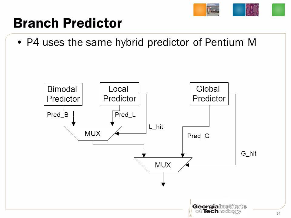 34 Branch Predictor P4 uses the same hybrid predictor of Pentium M Bimodal Predictor Local Predictor Global Predictor MUX Pred_G Pred_LPred_B L_hit G_
