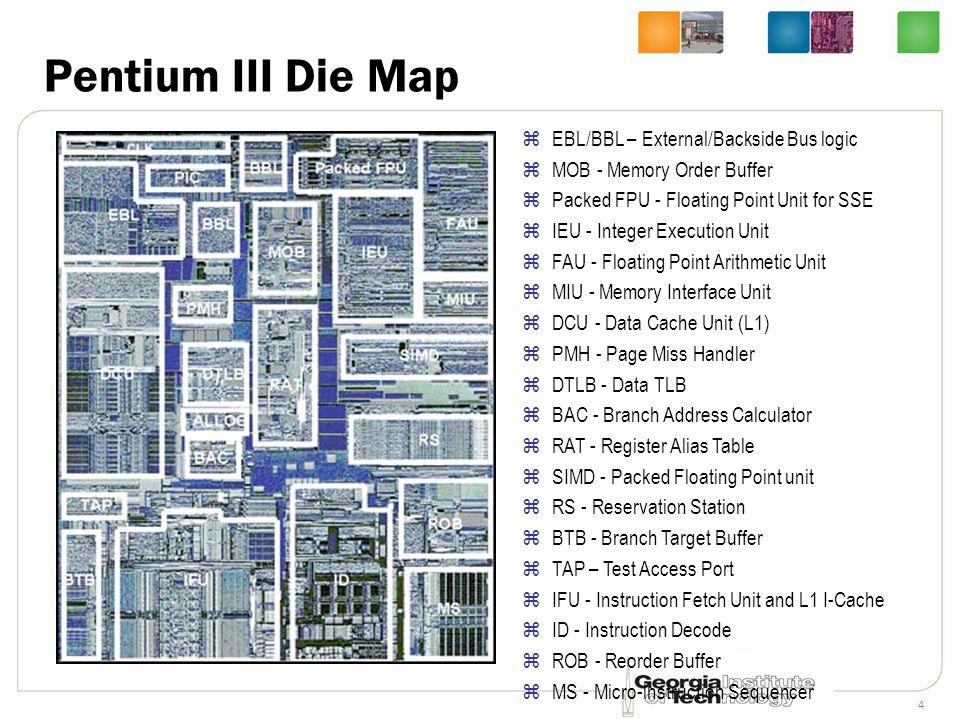 4 Pentium III Die Map zEBL/BBL – External/Backside Bus logic zMOB - Memory Order Buffer zPacked FPU - Floating Point Unit for SSE zIEU - Integer Execu