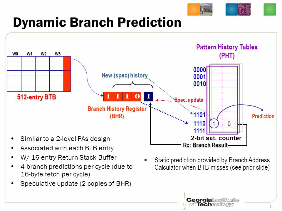 9 Dynamic Branch Prediction Similar to a 2-level PAs design Associated with each BTB entry W/ 16-entry Return Stack Buffer 4 branch predictions per cy