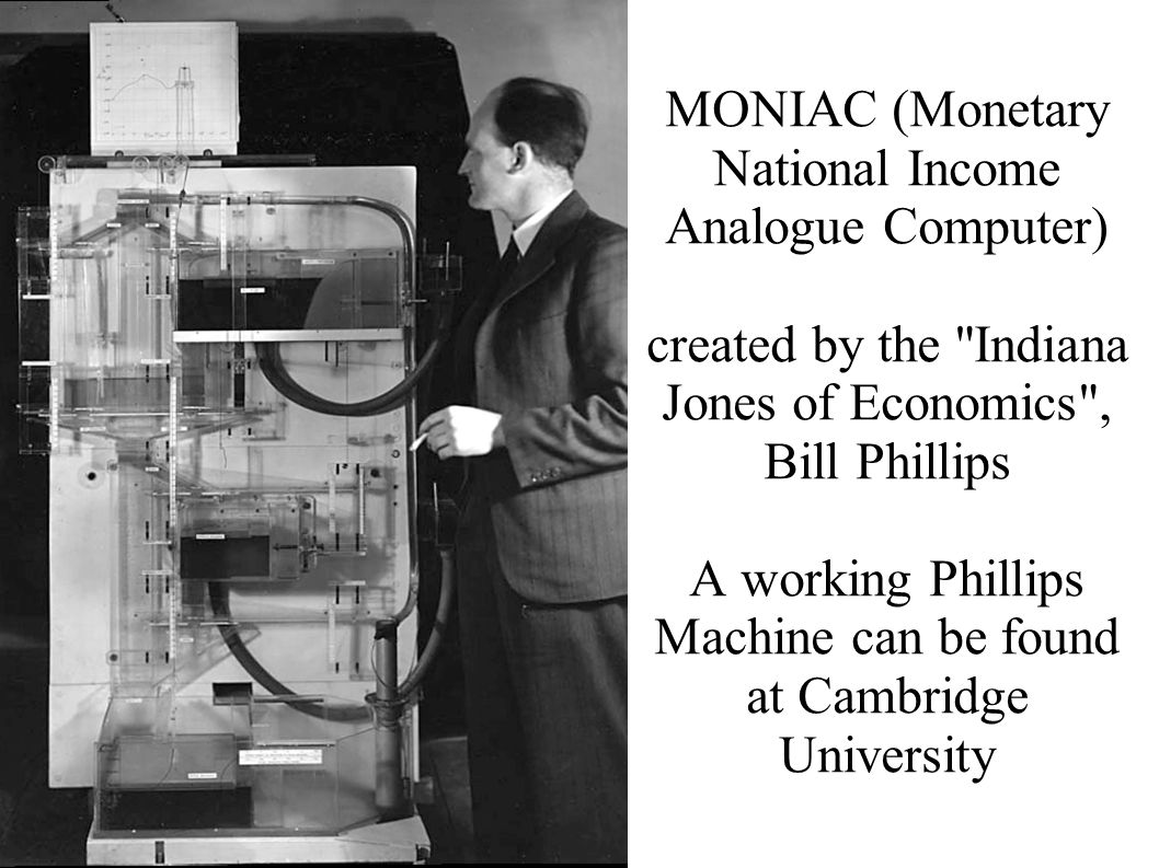 MONIAC (Monetary National Income Analogue Computer) created by the Indiana Jones of Economics , Bill Phillips A working Phillips Machine can be found at Cambridge University