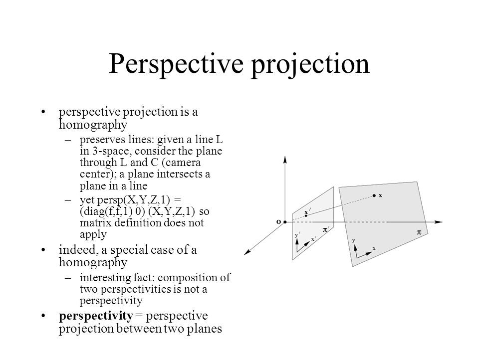 Perspective projection perspective projection is a homography –preserves lines: given a line L in 3-space, consider the plane through L and C (camera