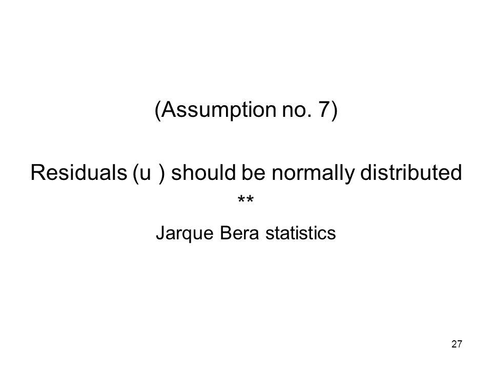 27 (Assumption no. 7) Residuals (u ) should be normally distributed ** Jarque Bera statistics