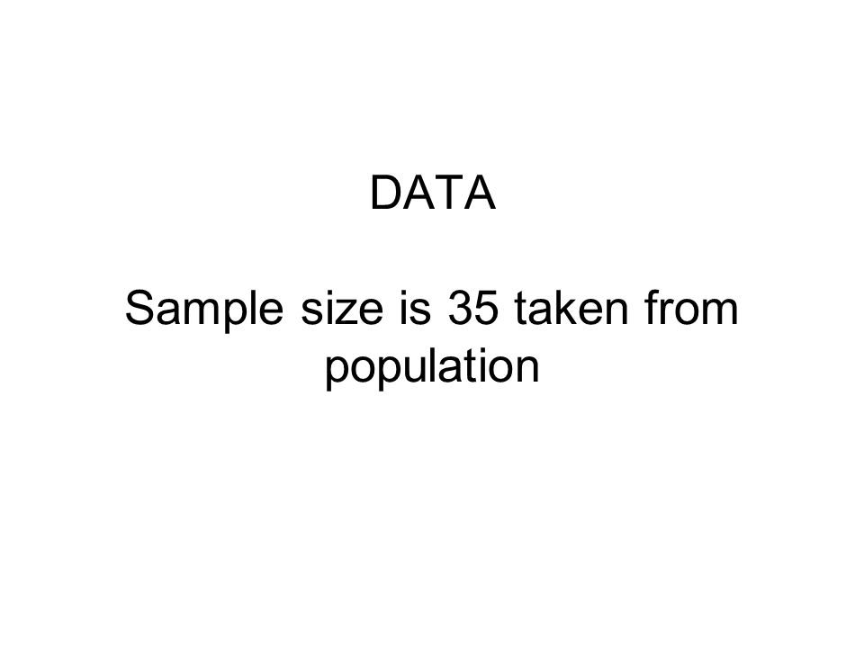 DATA Sample size is 35 taken from population