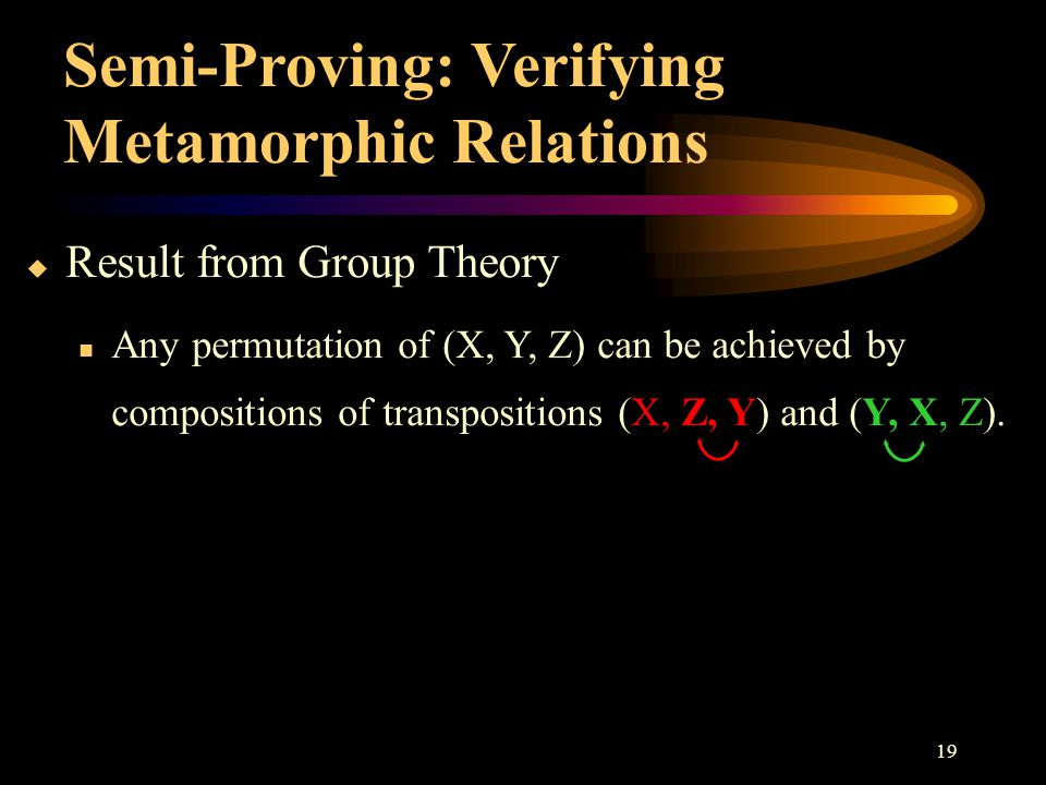 19  Result from Group Theory Any permutation of (X, Y, Z) can be achieved by compositions of transpositions (X, Z, Y) and (Y, X, Z). Semi-Proving: Ve