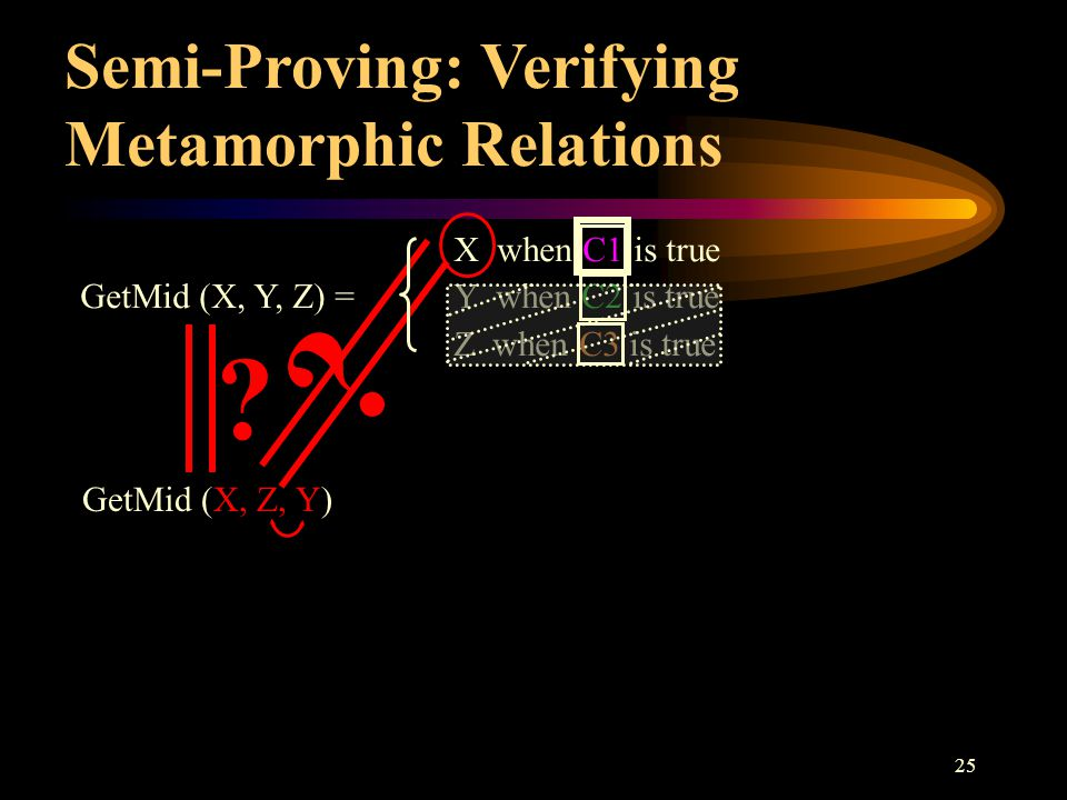 25 Semi-Proving: Verifying Metamorphic Relations ? GetMid (X, Z, Y) ? X when C1 is true GetMid (X, Y, Z) =Y when C2 is true Z when C3 is true