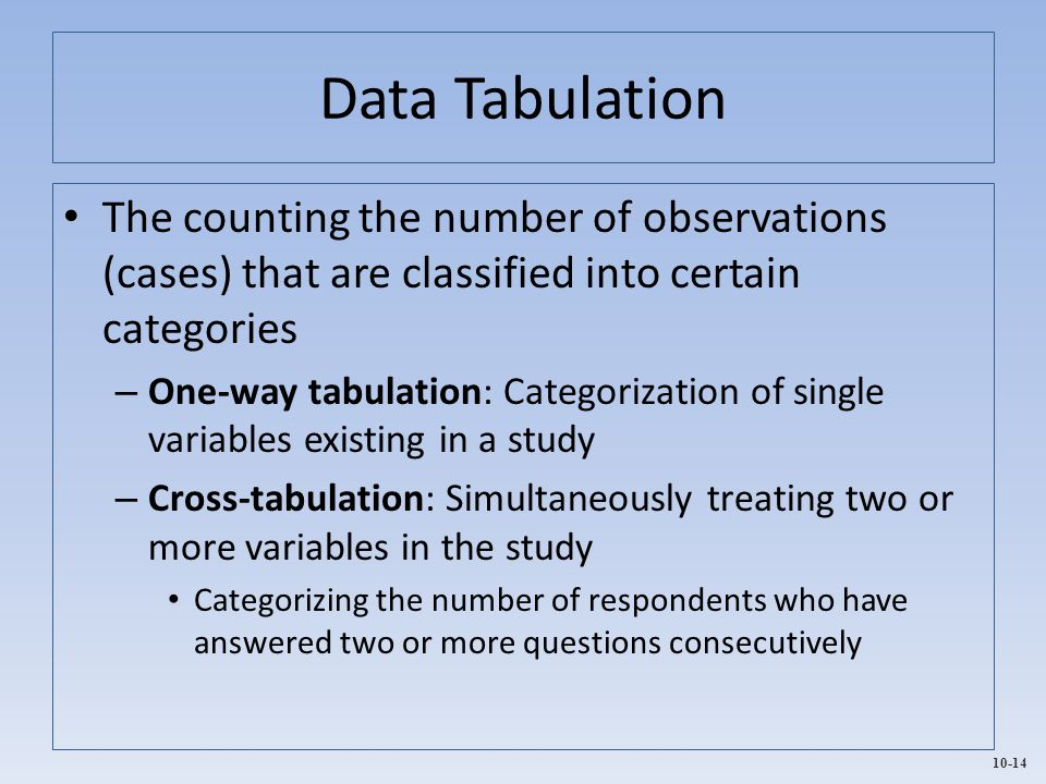 10-14 Data Tabulation The counting the number of observations (cases) that are classified into certain categories – One-way tabulation: Categorization