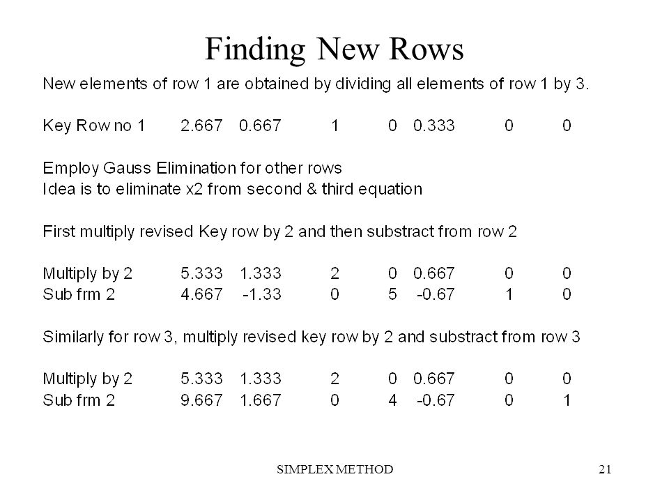 SIMPLEX METHOD21 Finding New Rows