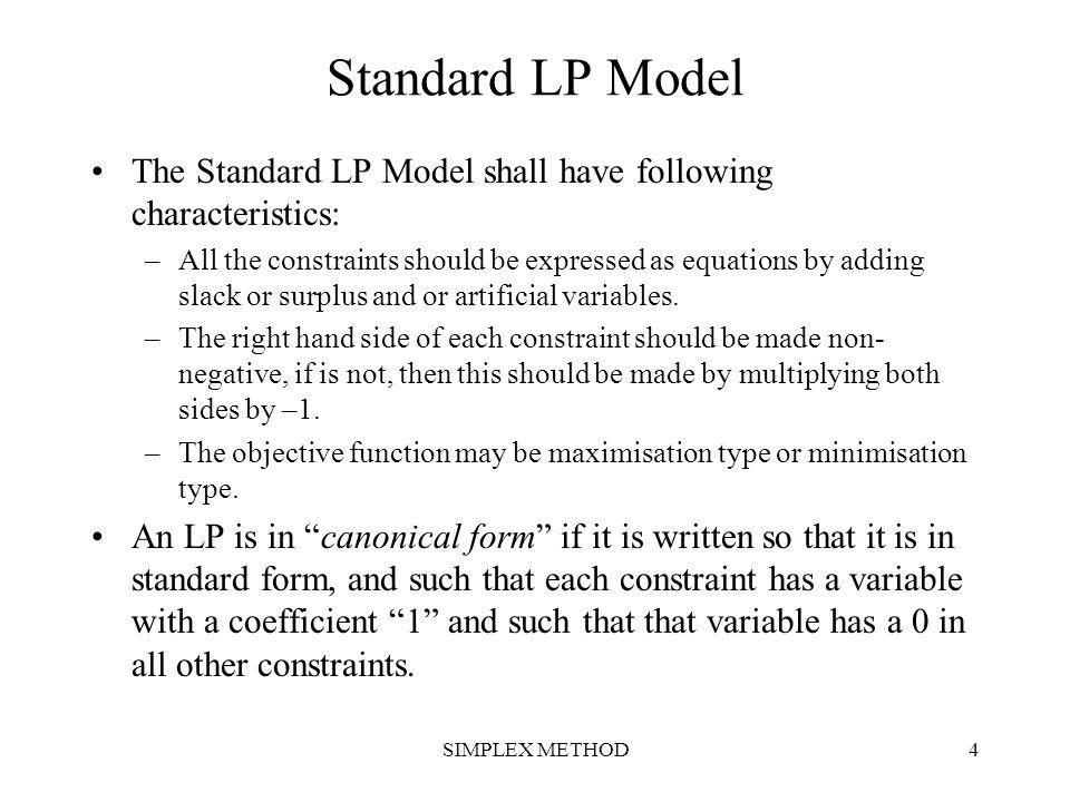 SIMPLEX METHOD25 Check for Optimality Notice that all cj – zj are zero.