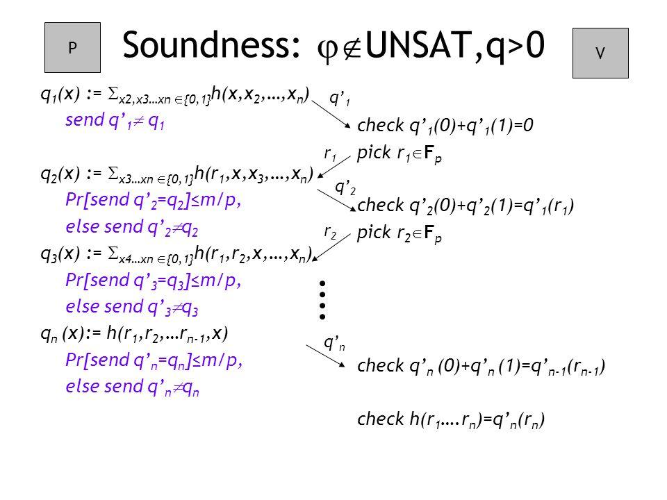 check q' 1 (0)+q' 1 (1)=0 pick r 1  F p check q' 2 (0)+q' 2 (1)=q' 1 (r 1 ) pick r 2  F p check q' n (0)+q' n (1)=q' n-1 (r n-1 ) check h(r 1 ….r n )=q' n (r n ) Soundness:  UNSAT,q>0 q 1 (x) :=  x2,x3…xn  {0,1} h(x,x 2,…,x n ) send q' 1  q 1 q 2 (x) :=  x3…xn  {0,1} h(r 1,x,x 3,…,x n ) Pr[send q' 2 =q 2 ]≤m/p, else send q' 2  q 2 q 3 (x) :=  x4…xn  {0,1} h(r 1,r 2,x,…,x n ) Pr[send q' 3 =q 3 ]≤m/p, else send q' 3  q 3 q n (x):= h(r 1,r 2,…r n-1,x) Pr[send q' n =q n ]≤m/p, else send q' n  q n P V q' 1 r1r1 q' 2 r2r2 q' n