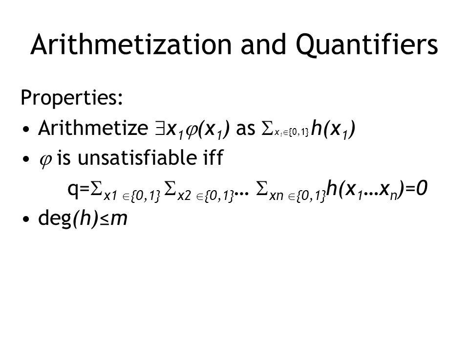 Arithmetization and Quantifiers Properties: Arithmetize  x 1  (x 1 ) as  x 1  {0,1} h(x 1 )  is unsatisfiable iff q=  x1  {0,1}  x2  {0,1} …  xn  {0,1} h(x 1 …x n )=0 deg(h)≤m