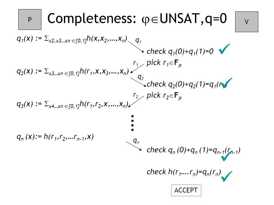 check q 1 (0)+q 1 (1)=0 pick r 1  F p check q 2 (0)+q 2 (1)=q 1 (r 1 ) pick r 2  F p check q n (0)+q n (1)=q n-1 (r n-1 ) check h(r 1 ….r n )=q n (r n ) Completeness:  UNSAT,q=0 q 1 (x) :=  x2,x3…xn  {0,1} h(x,x 2,…,x n ) q 2 (x) :=  x3…xn  {0,1} h(r 1,x,x 3,…,x n ) q 3 (x) :=  x4…xn  {0,1} h(r 1,r 2,x,…,x n ) q n (x):= h(r 1,r 2,…r n-1,x) P V q1q1 r1r1 q2q2 r2r2 ACCEPT qnqn